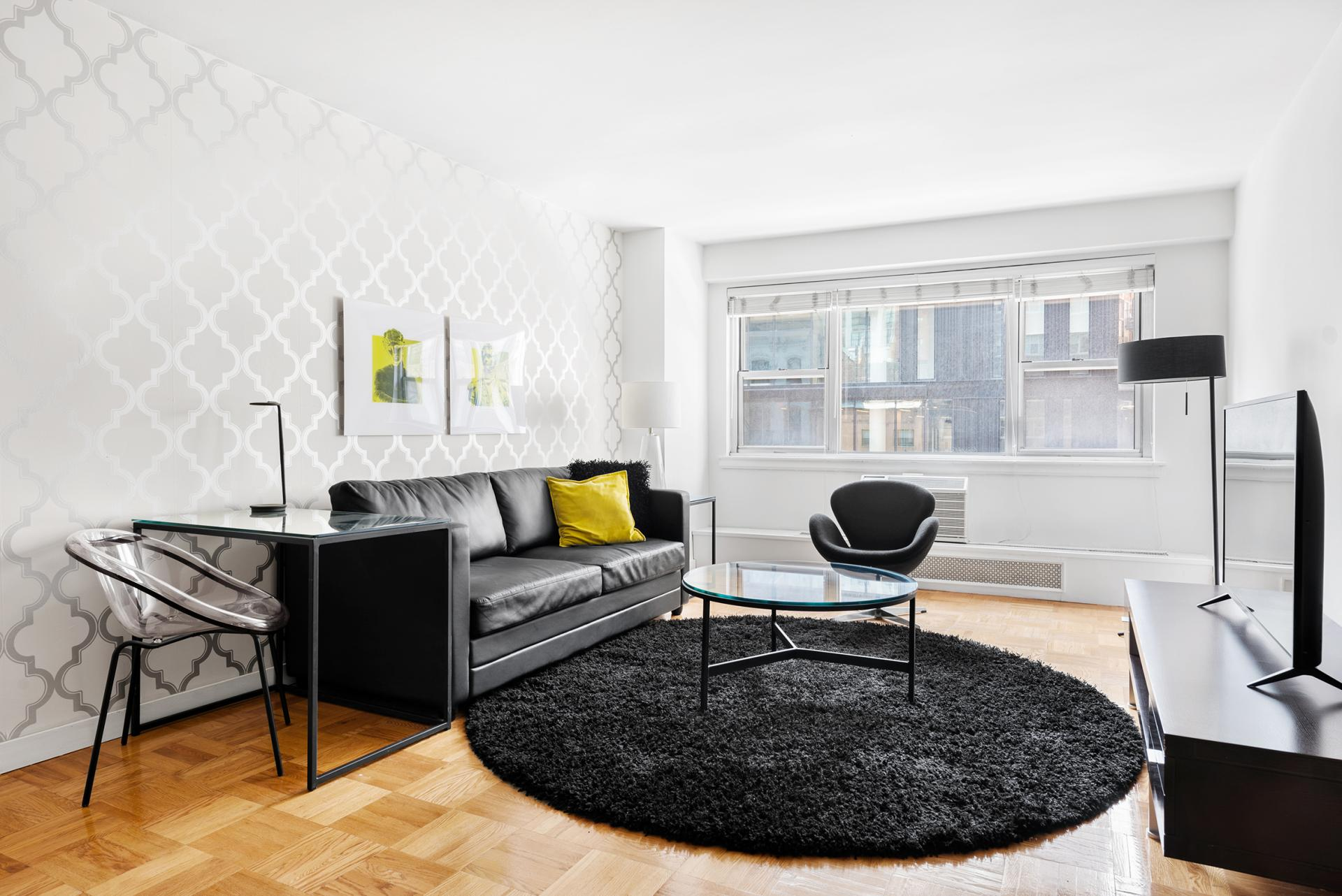Living area at 60 East 12th Street Apartments, Greenwich Village, Manhattan