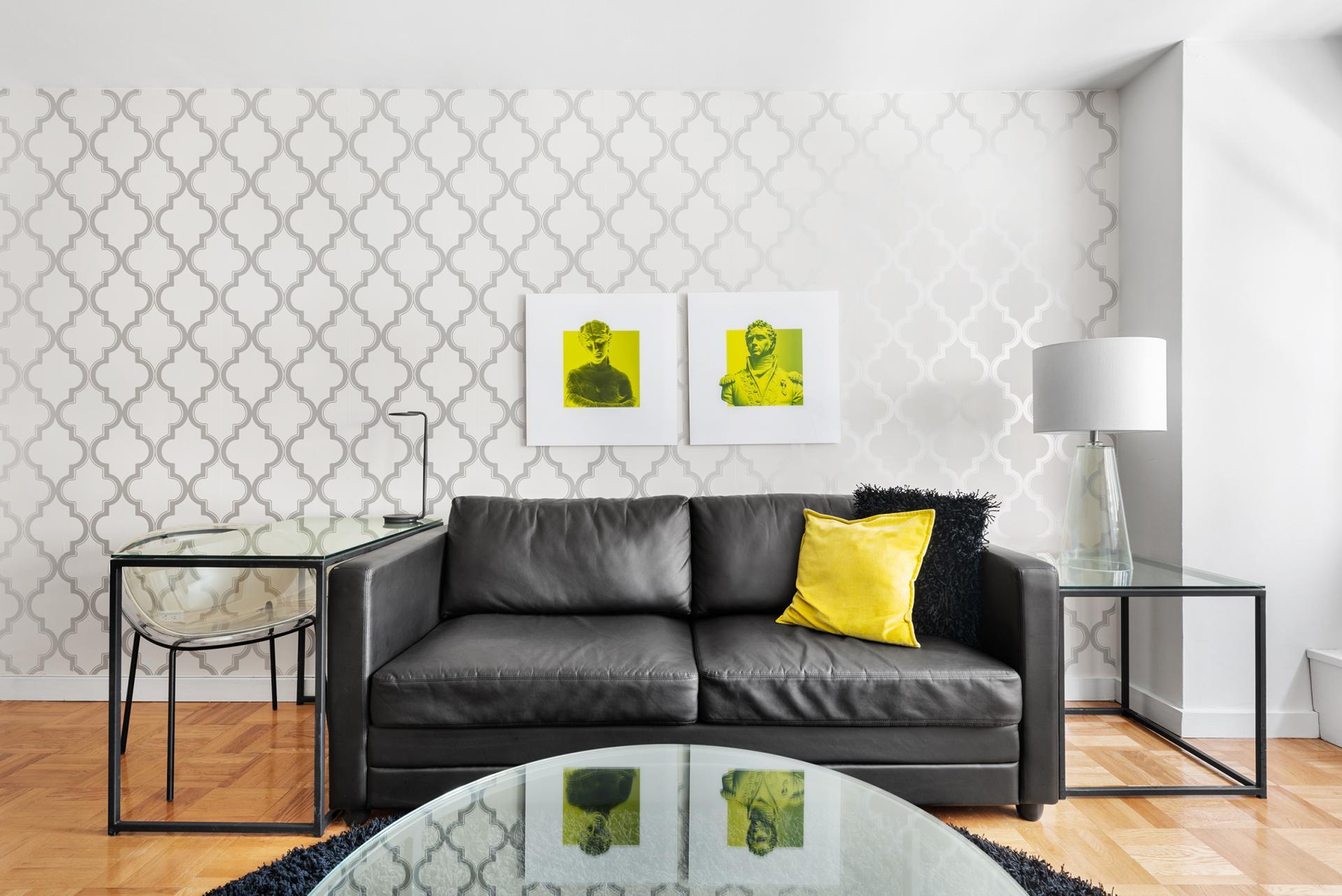 Sofa at 60 East 12th Street Apartments, Greenwich Village, Manhattan