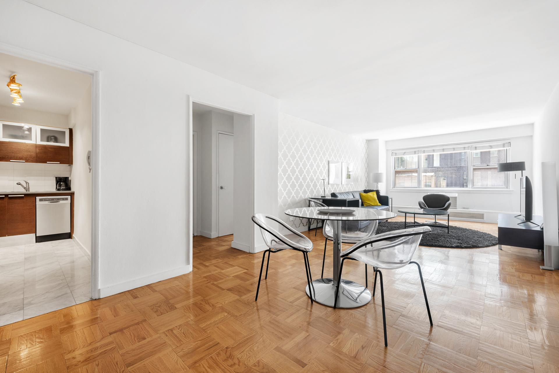 Open plan living area at 60 East 12th Street Apartments, Greenwich Village, Manhattan