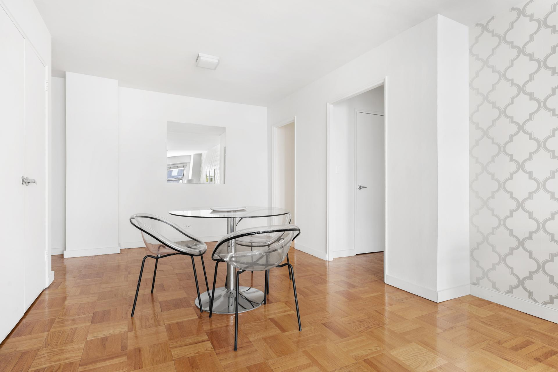 Dining table at 60 East 12th Street Apartments, Greenwich Village, Manhattan