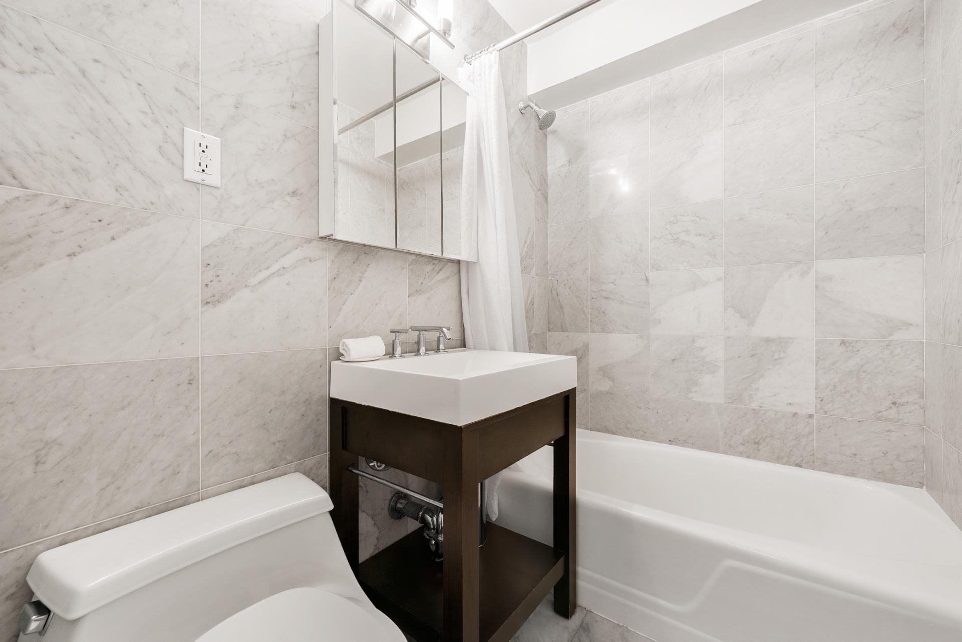 Bathroom 60 East 12th Street Apartments, Greenwich Village, Manhattan