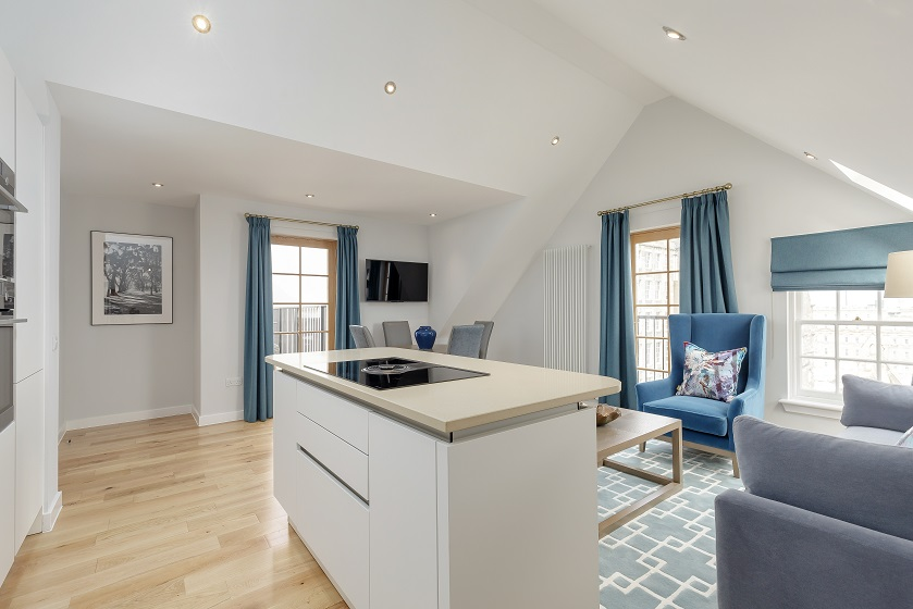 Open-plan living area at Royal Mile Residence Apartments