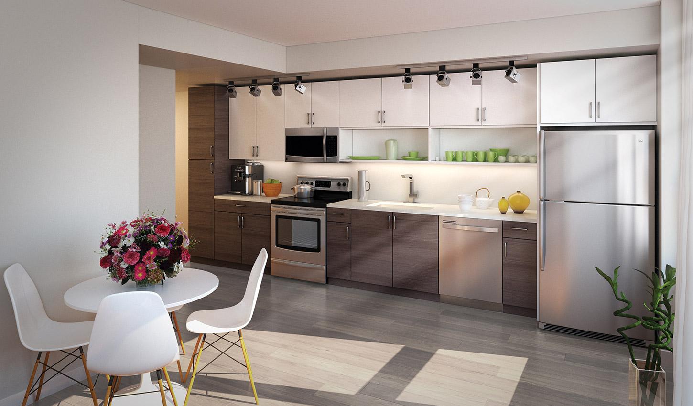 Modern kitchen at The Acadia at Metropolitan Park