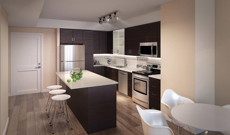 Kitchen area at The Acadia at Metropolitan Park