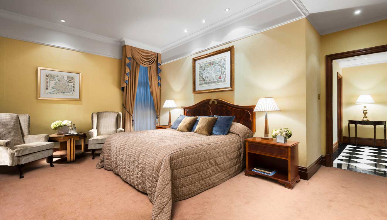 Classic master bedroom at Taj 51 Buckingham Gate