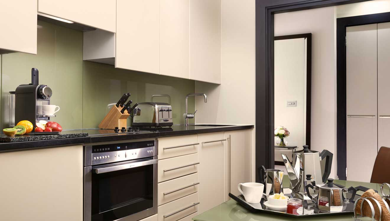 One bed suite kitchen at Taj 51 Buckingham Gate