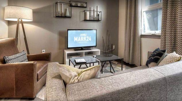 Living Room at AMLI Mark 24 Apartments