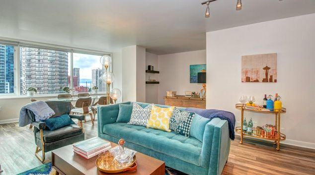 Living Room at Metropolitan Tower Apartment