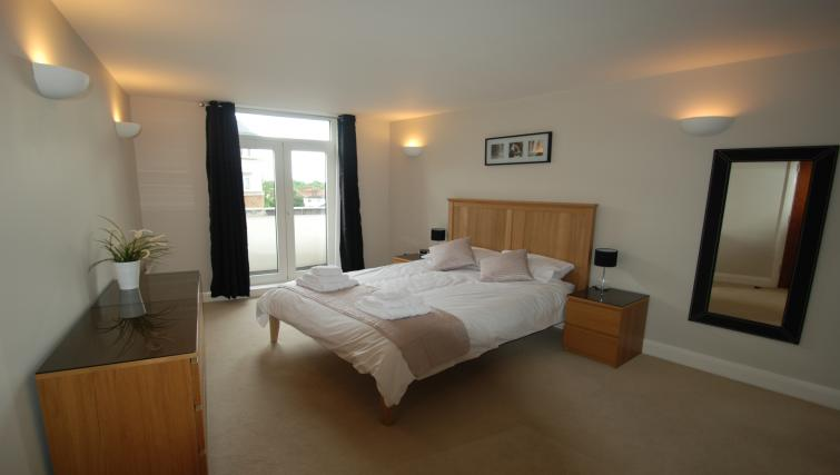 Large bright double bedroom at Clarence Street