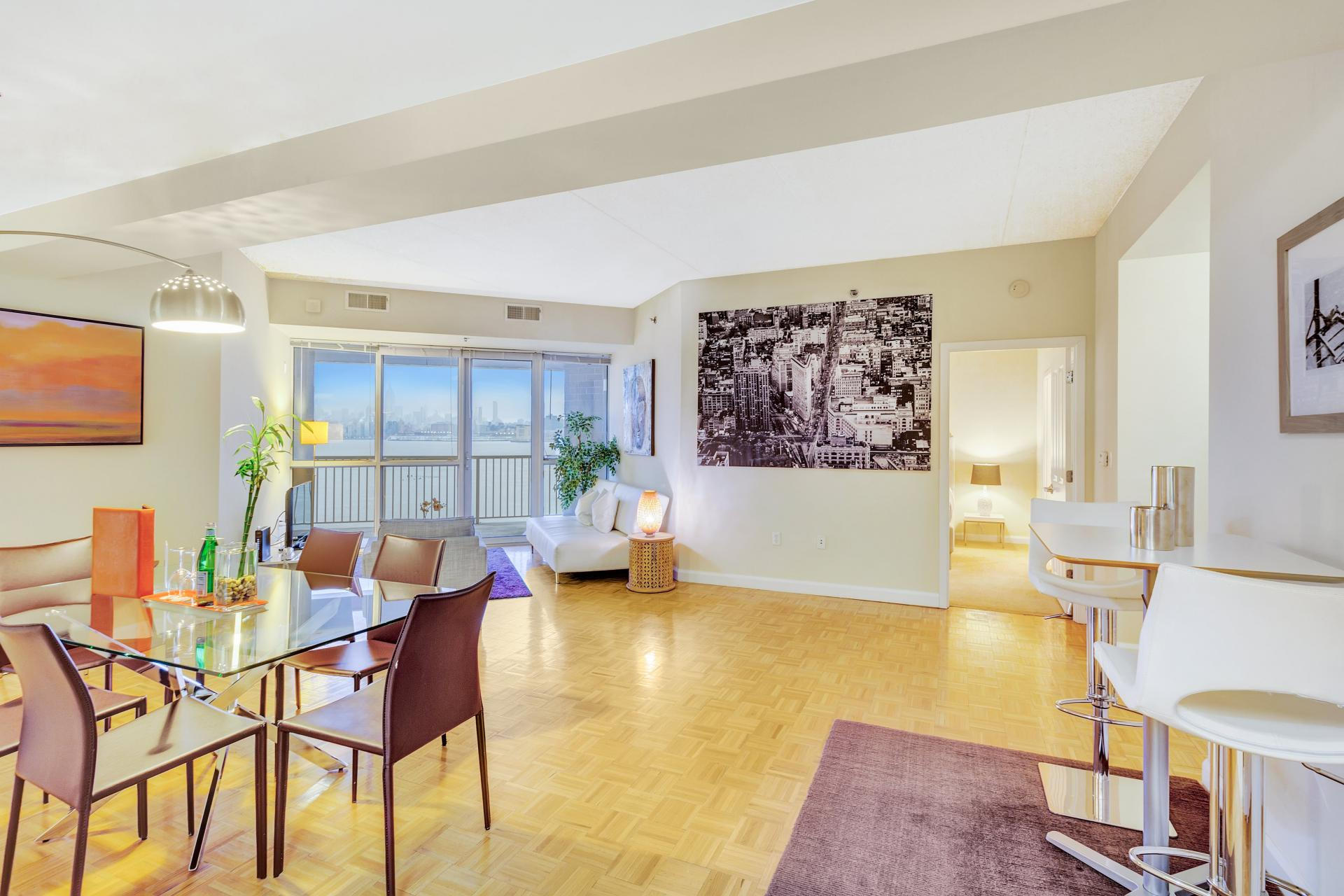 Spacious lounge at Exchange Place Station Apartments