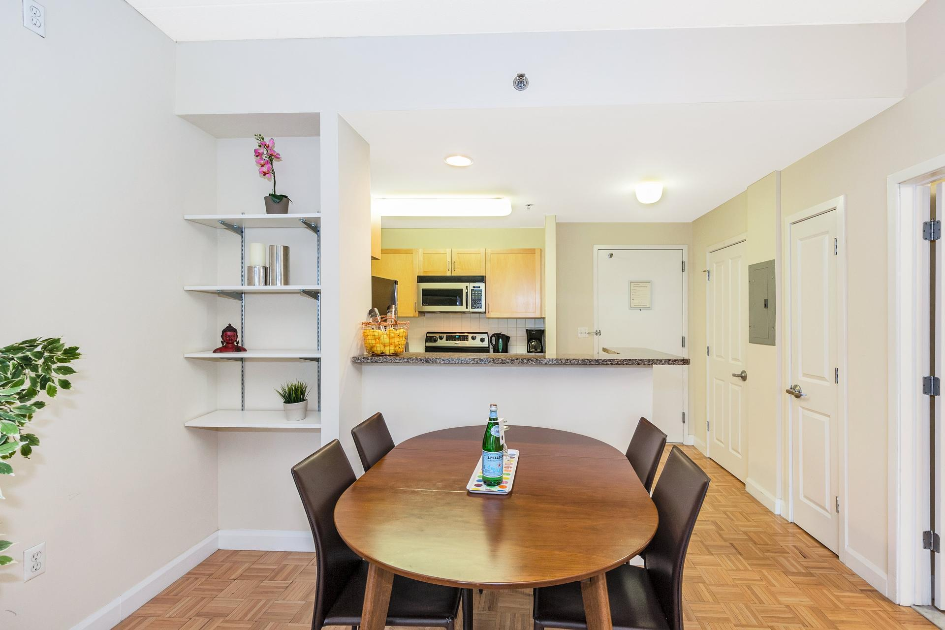 Table at Exchange Place Station Apartments