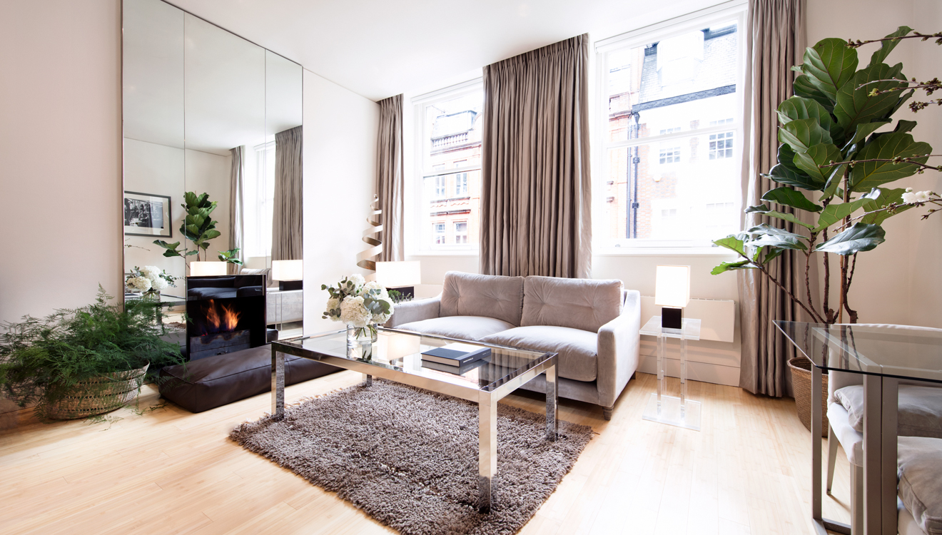 Spacious living room at No 5 Maddox Street Apartments