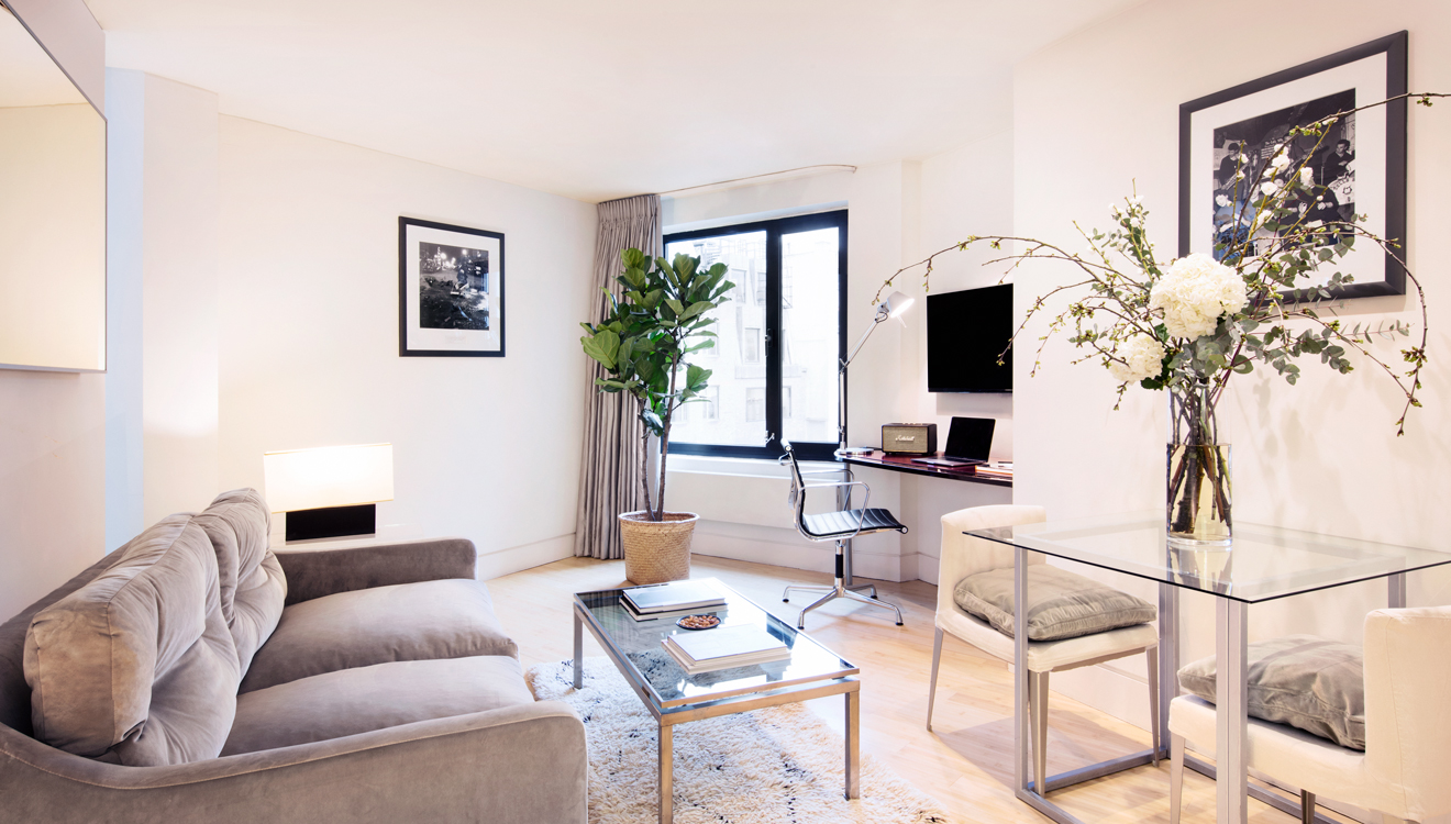Stylish lounge at No 5 Maddox Street Apartments