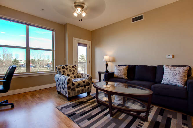 Coffee table at Dry Creek Crossing Apartments