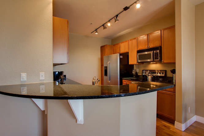 Kitchen area at Dry Creek Crossing Apartments