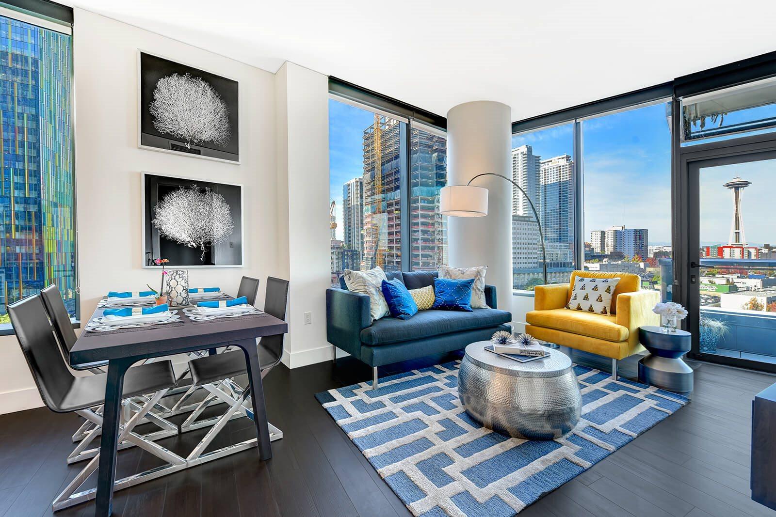 Living Room at Cirrus Apartments