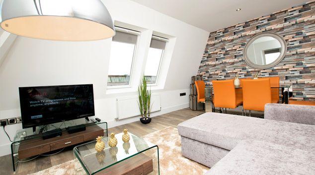 Living room at Rowan Tree Apartments