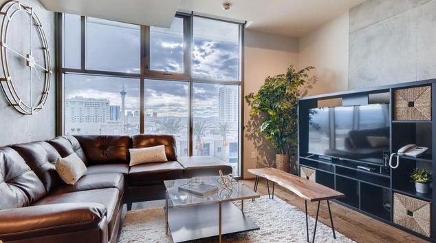 Living area at Juhl Apartments, Arts District, Las Vegas
