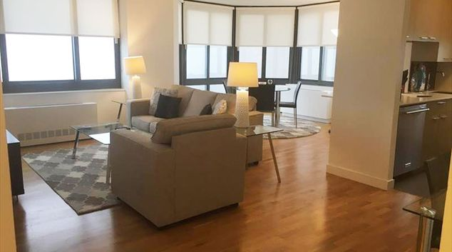Living area at Tribeca Tower Apartment