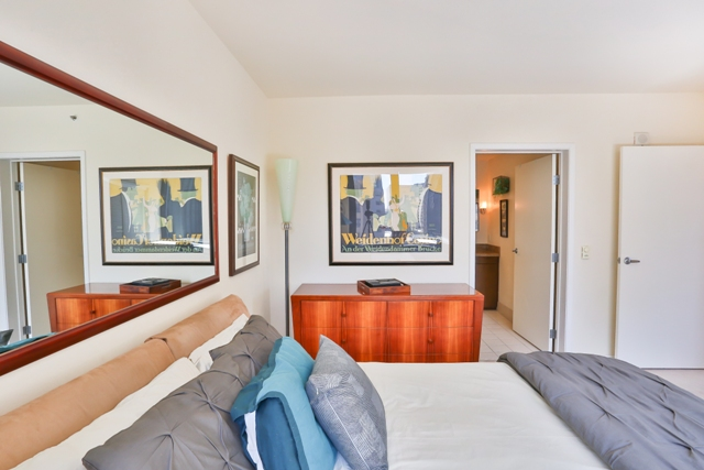 Bright bedroom at 199 New Montgomery Apartments
