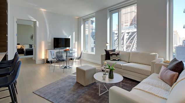 Living room at One Hudson Yards Apartments