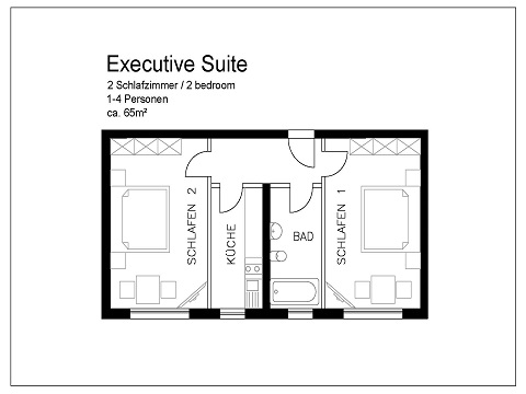 Executive Suite floor plan at Pfalzer Wald Apartments, Giesing, Munich