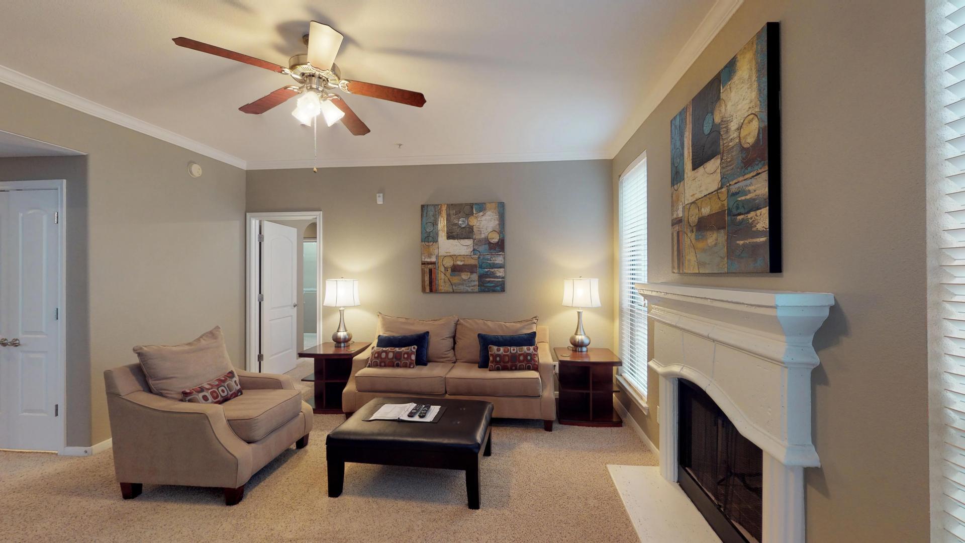 Living room at San Paloma Corporate Housing