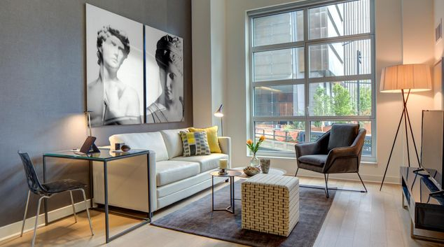 Living room at Abington House Apartments