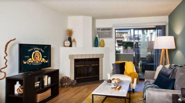 Living area at Eaves San Jose Apartment, Countrybrook Lagoon, San Jose