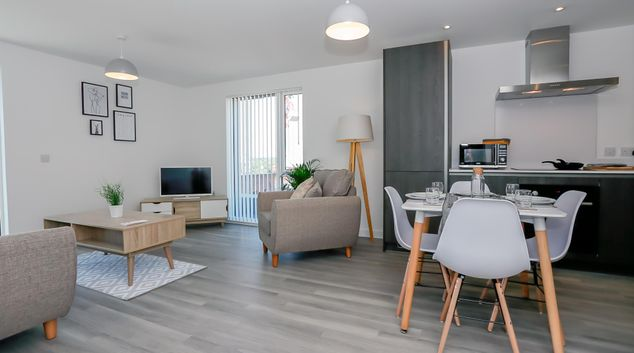 Living room at Hilltop Serviced Apartments NQ, Northern Quarter, Manchester