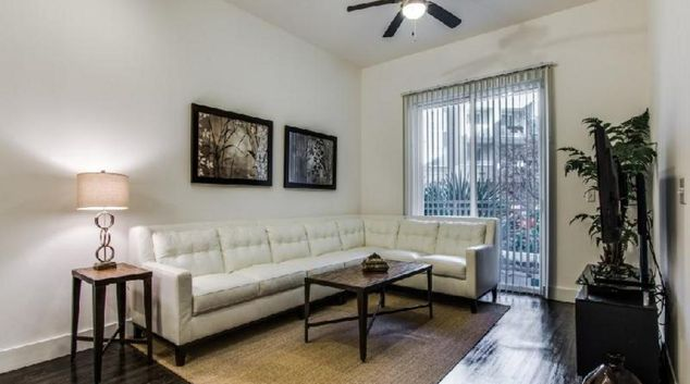 Living Room at Arpeggio Victory Park Apartments