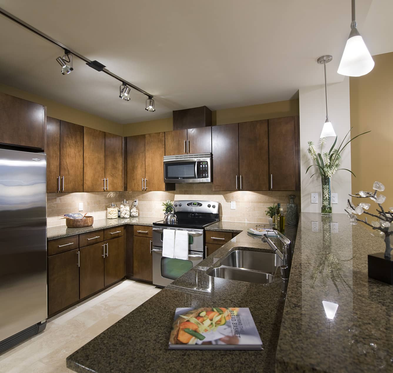 Kitchen at The Olivian Apartment, Belltown, Seattle