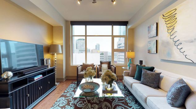Lounge at The Olivian Apartment, Belltown, Seattle