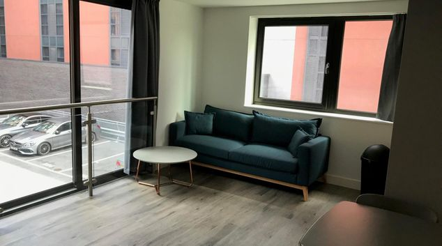 Living room at One The Brayford Apartments