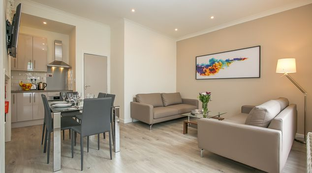 Open plan living room at St Stephens Green Apartments