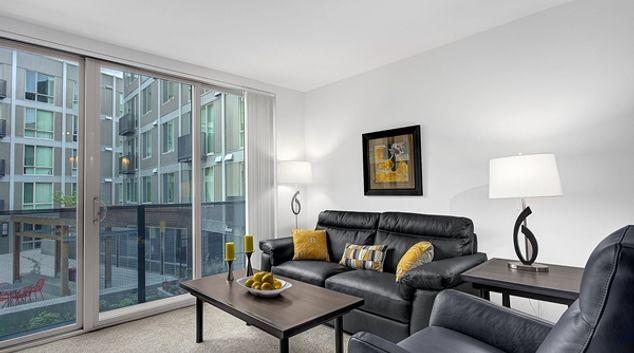 Living room at Pontius Avenue Apartment, South Lake Union, Seattle