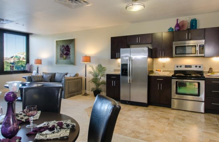 Open Plan Kitchen at River Vue Apartment