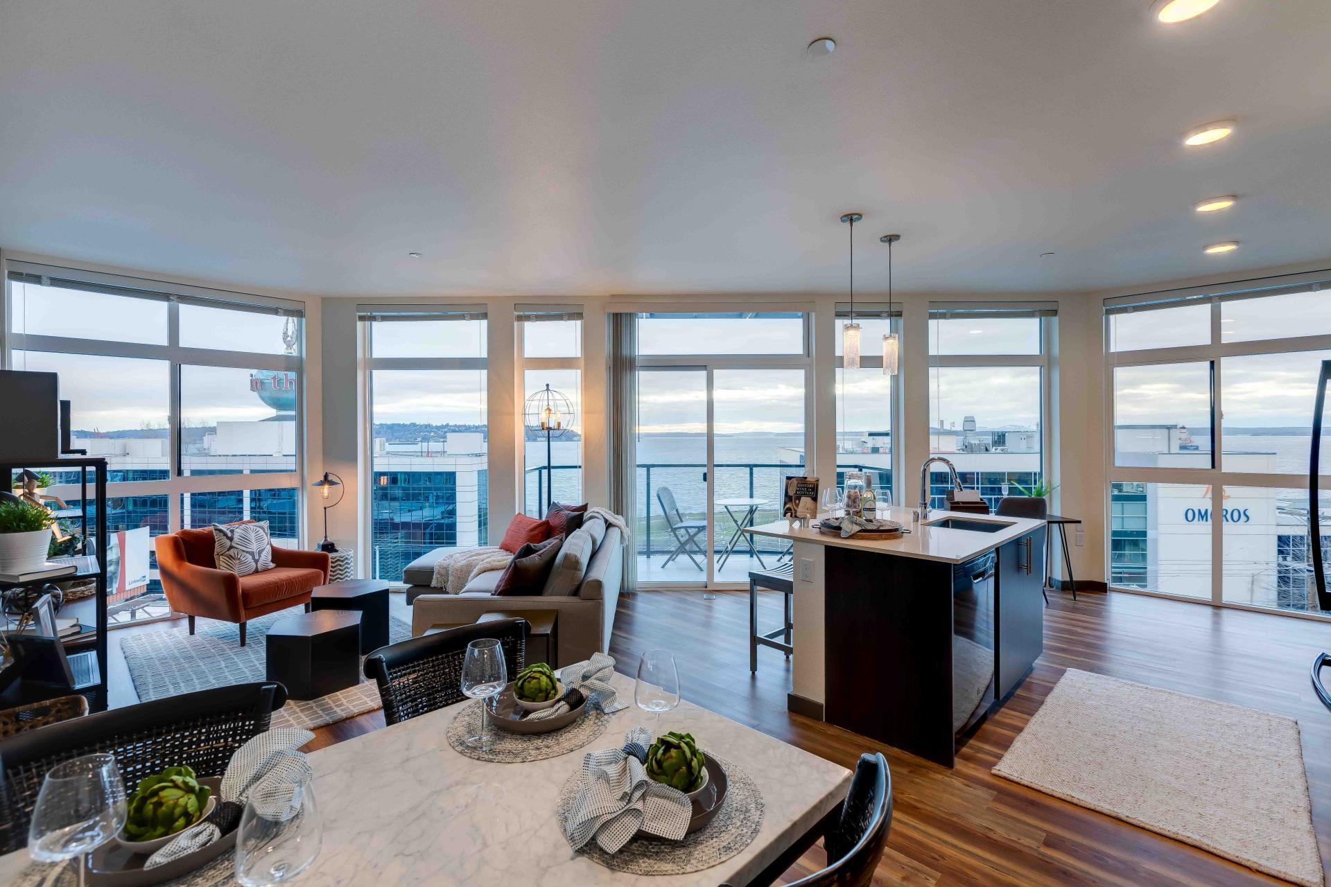 Living Room at 2nd & John Apartments