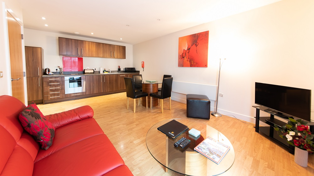 Spacious living area at The Spires Birmingham
