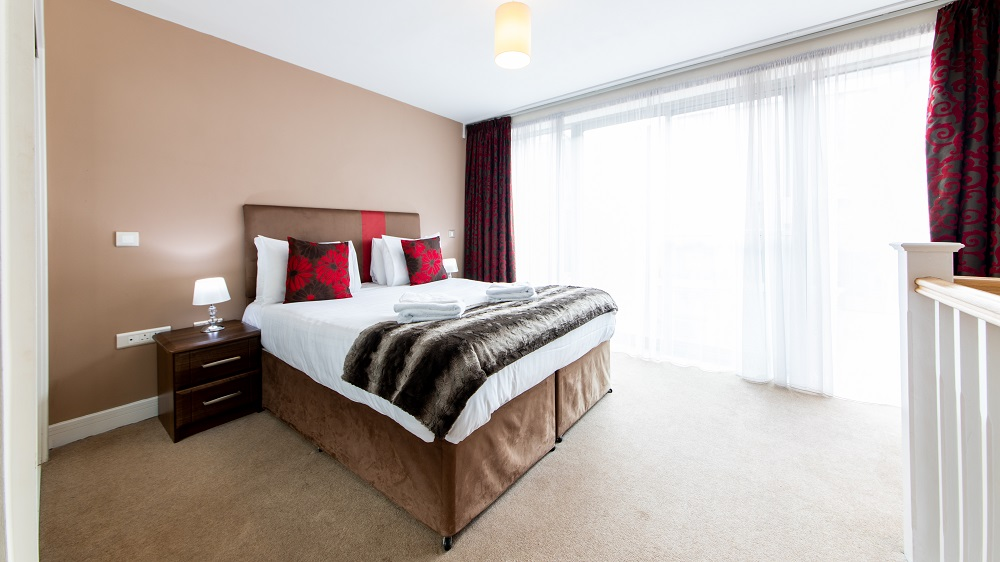 Spacious bedroom at The Spires Birmingham