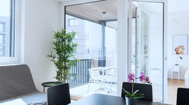 Living area at Messe Apartment