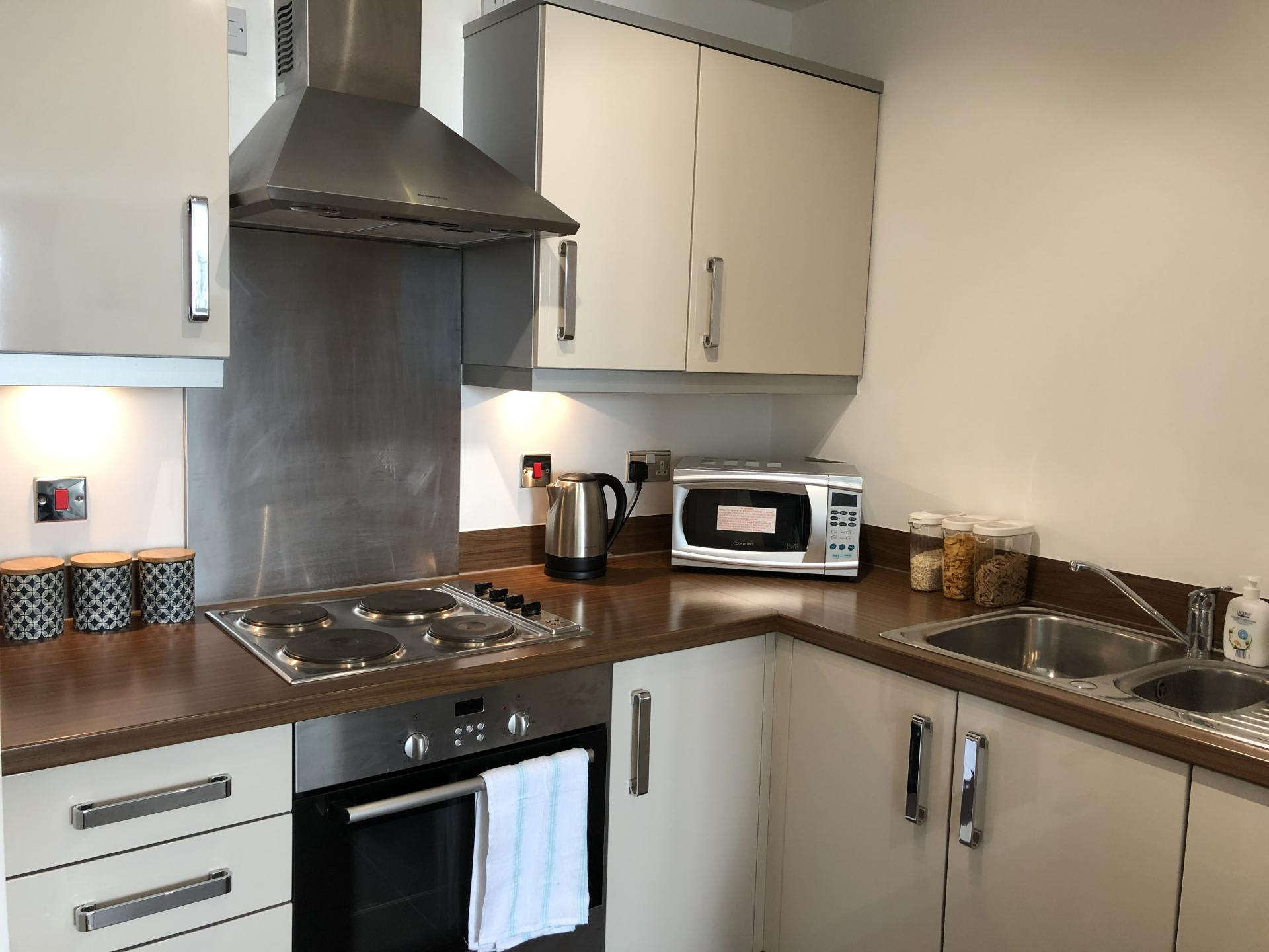 Kitchen at The Hub Serviced Apartments
