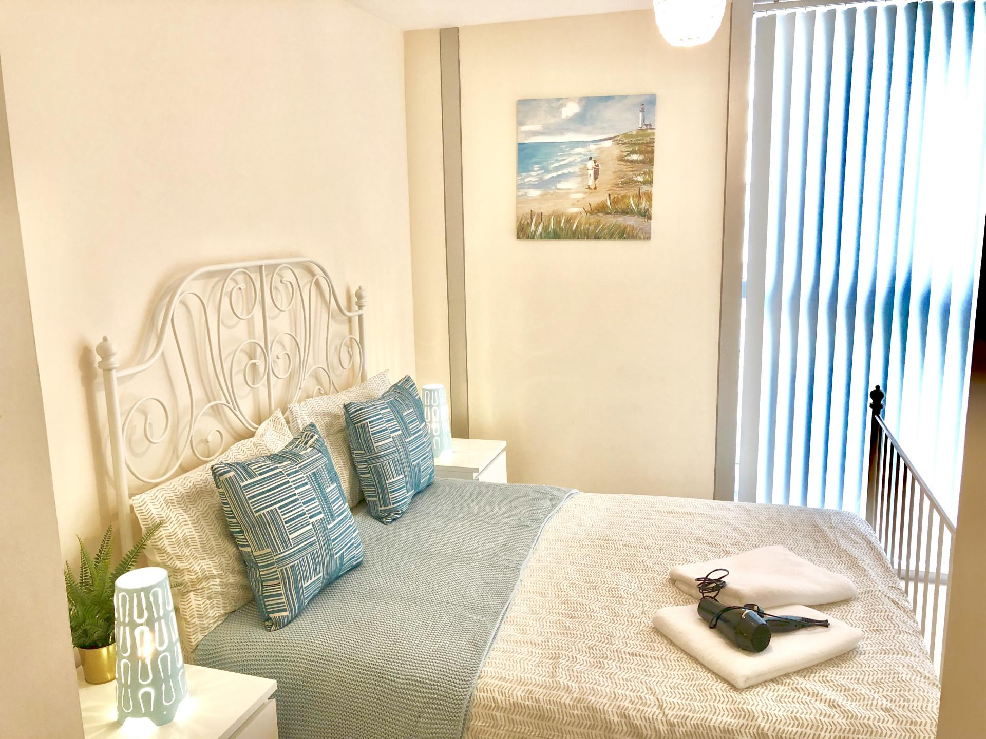 Double bed at The Hub Serviced Apartments