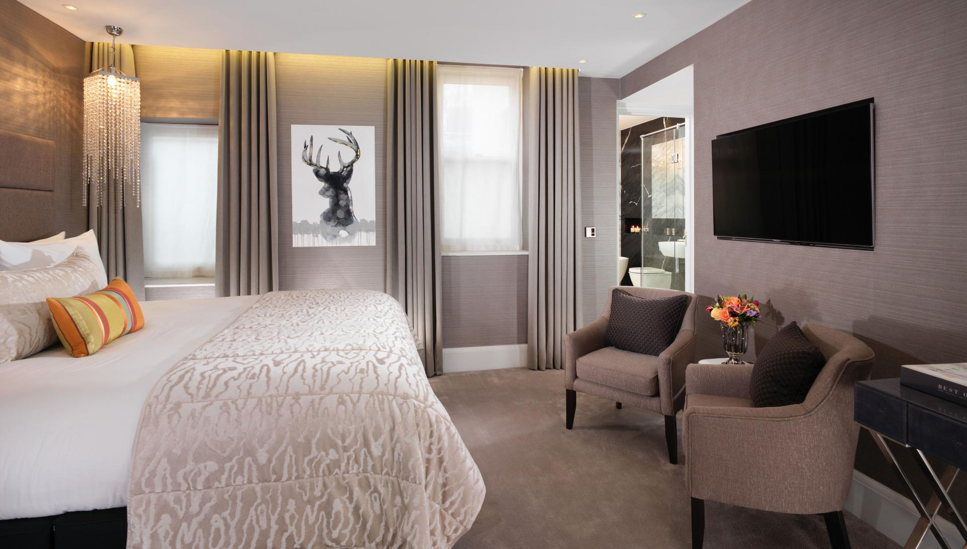 Modern bedroom at Flemings Apartments