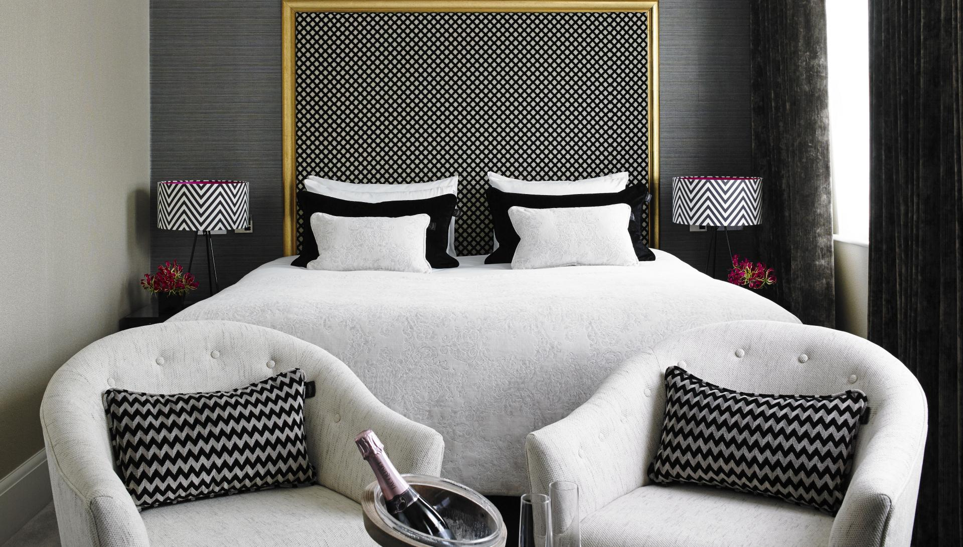 Modern bed at Flemings Apartments