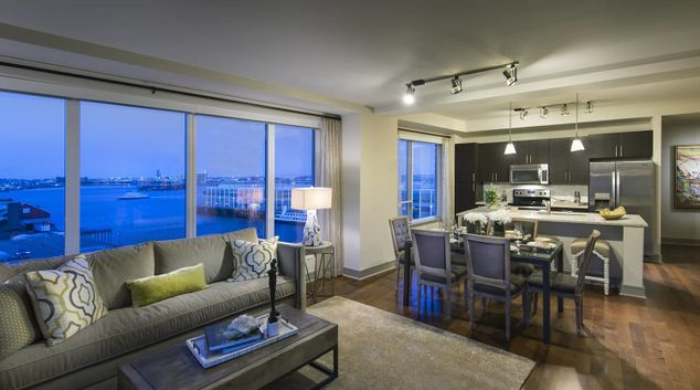 Living area at 100 Pier 4 Serviced Apartments