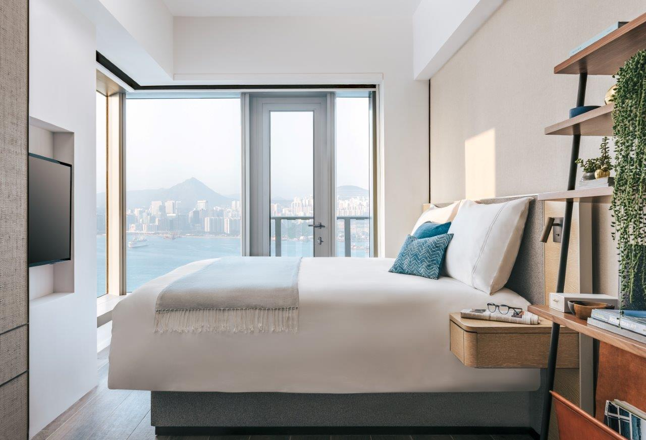 Bedroom at Waterfront Suites Apartments