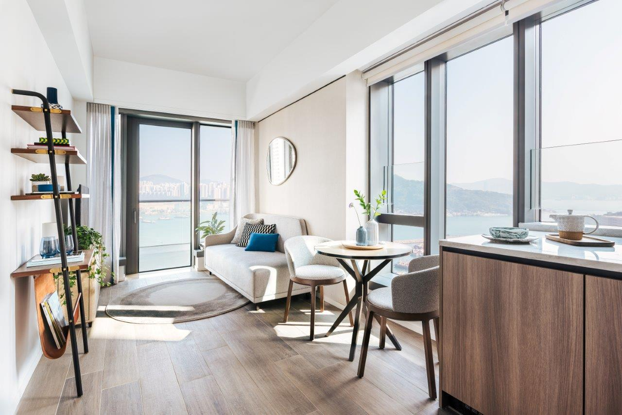 Bright lounge at Waterfront Suites Apartments
