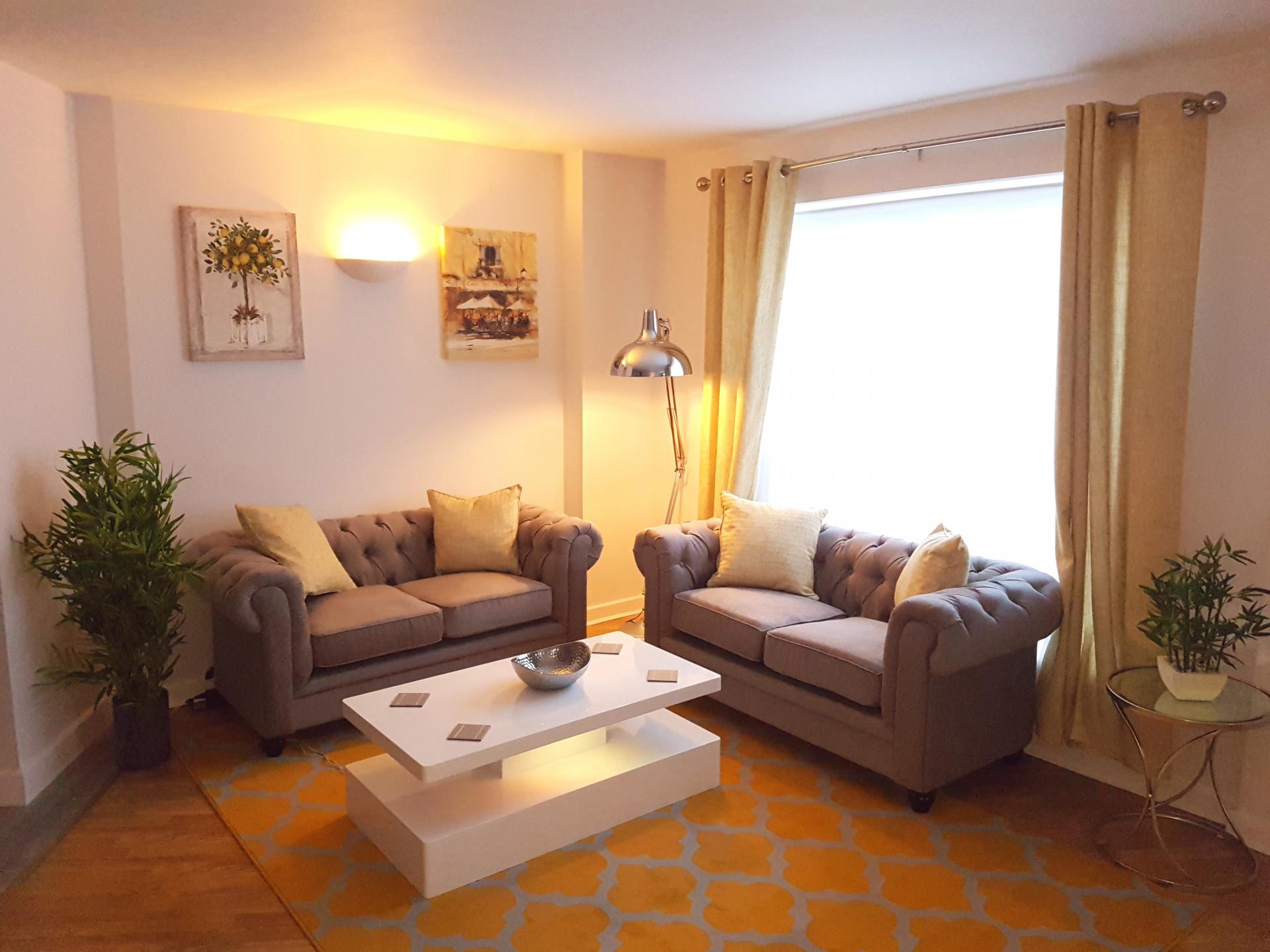 Living room at Alpha House Apartment, Centre, Northampton