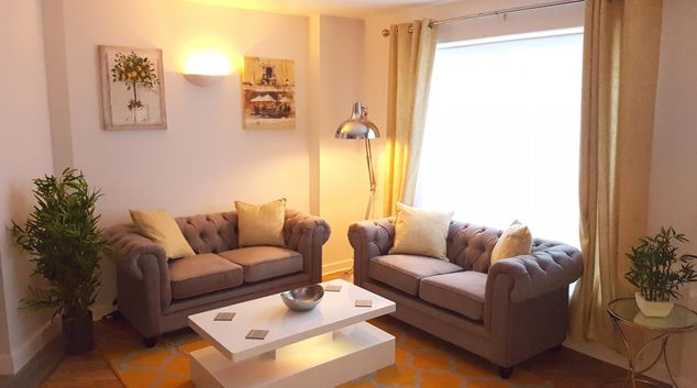 Living room at Alpha House Apartment, Centre, Northampton